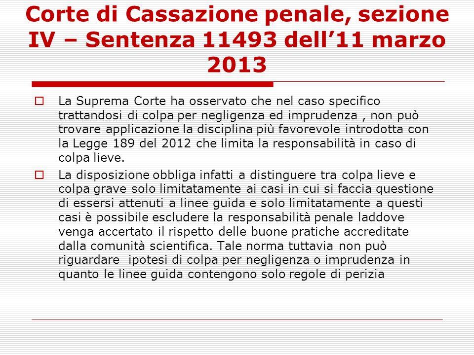 Corte di Cassazione penale, sezione IV – Sentenza 11493 dell'11 marzo 2013