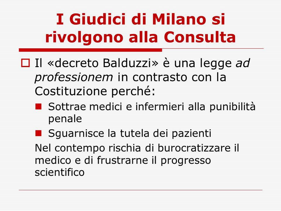 I Giudici di Milano si rivolgono alla Consulta
