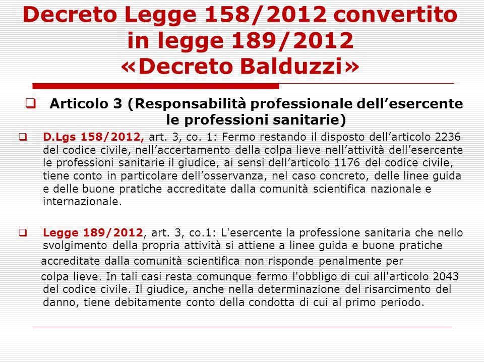 Decreto Legge 158/2012 convertito in legge 189/2012 «Decreto Balduzzi»