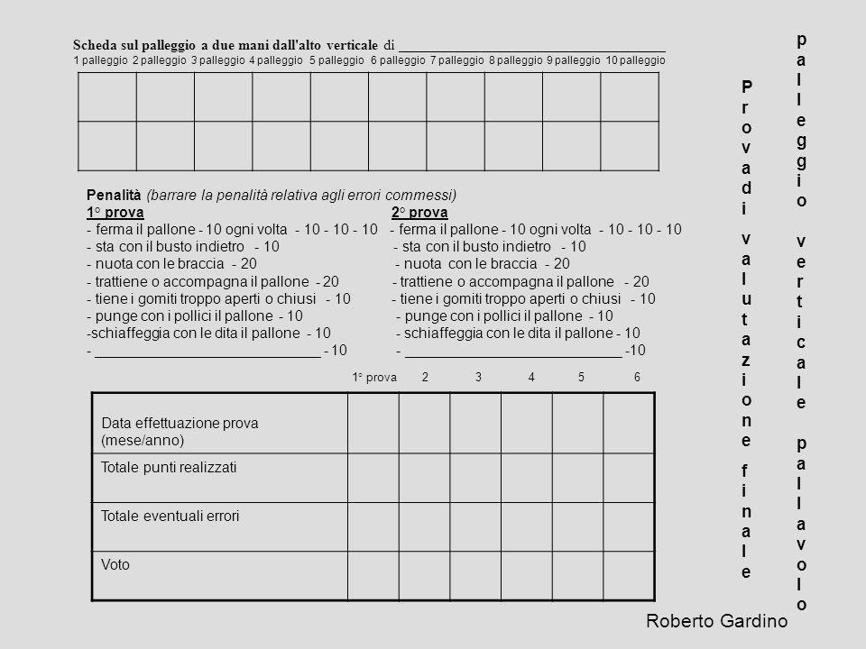 Roberto Gardino palleggio verticale pallavolo Prova di valutazione