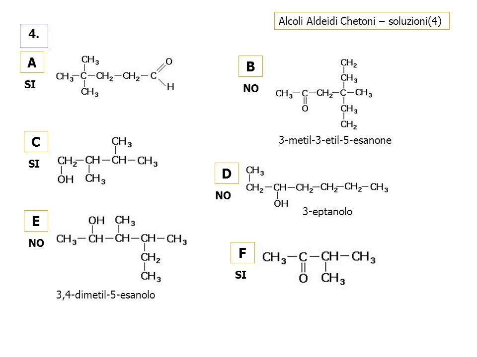 A B C D E F 4. Alcoli Aldeidi Chetoni – soluzioni(4) SI NO