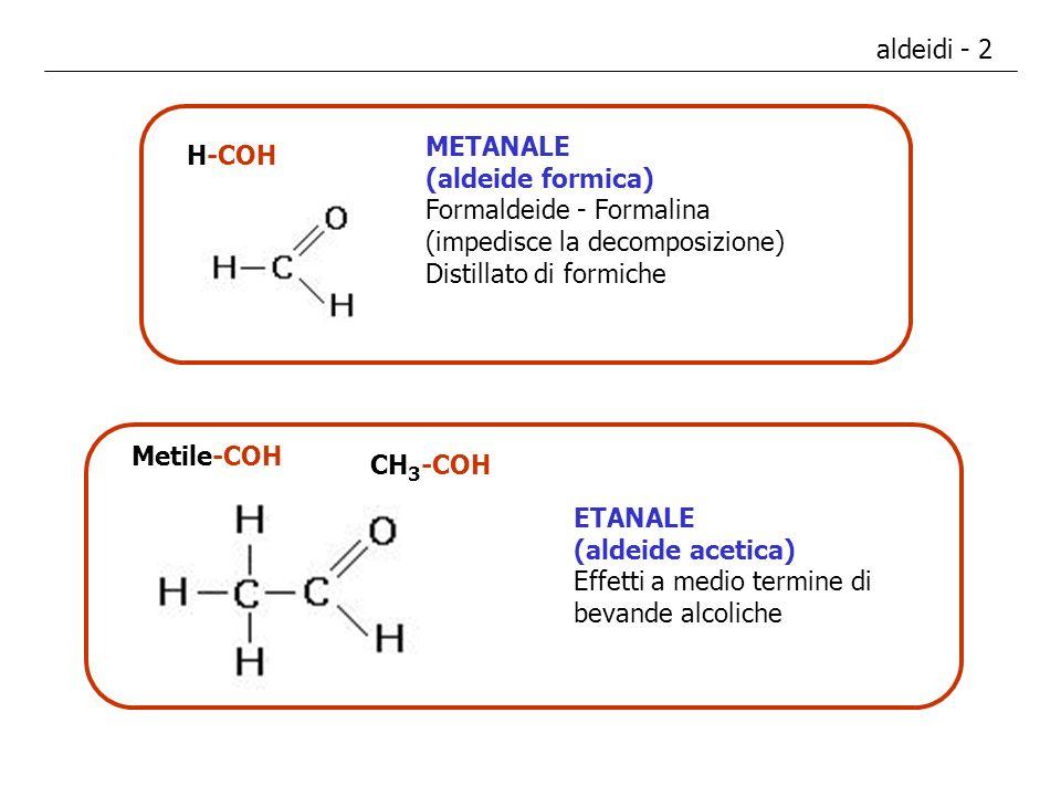 aldeidi - 2 METANALE. (aldeide formica) Formaldeide - Formalina. (impedisce la decomposizione) Distillato di formiche.