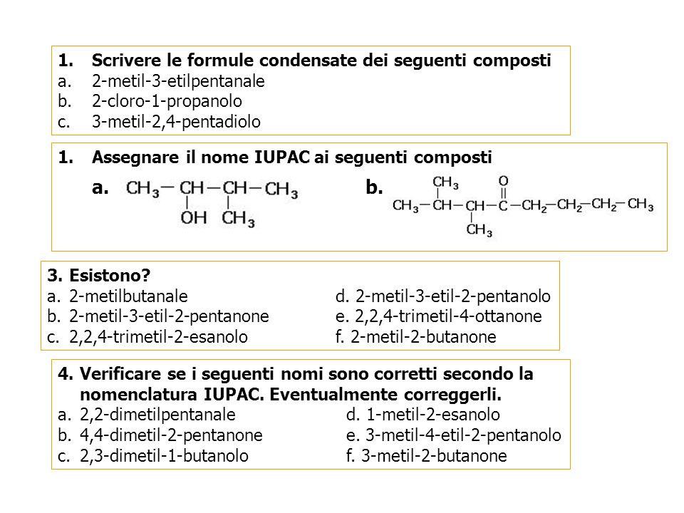 a. b. Scrivere le formule condensate dei seguenti composti