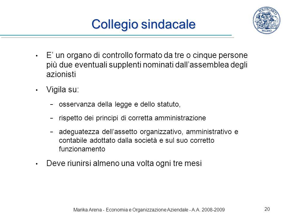 Marika Arena - Economia e Organizzazione Aziendale - A.A. 2008-2009