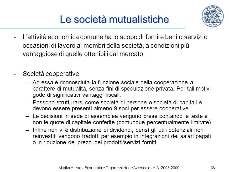 Le società mutualistiche