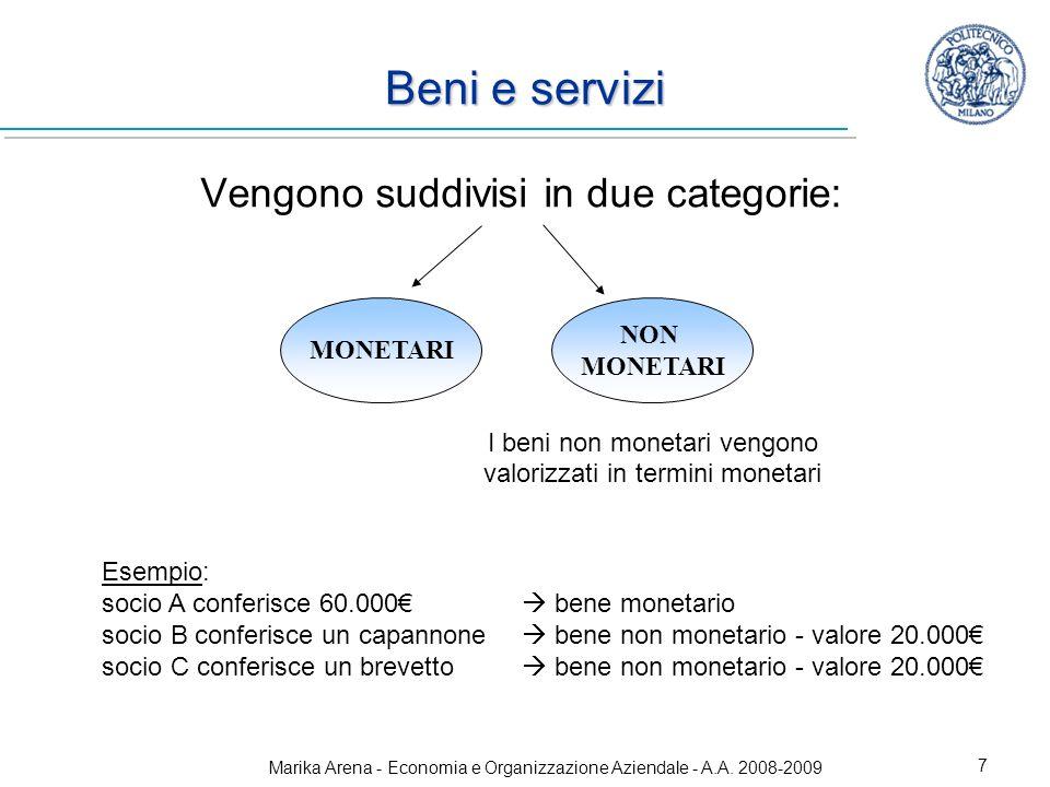 Beni e servizi Vengono suddivisi in due categorie: NON MONETARI