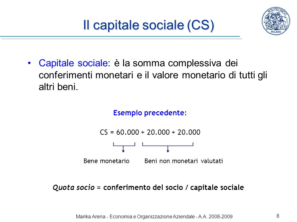 Il capitale sociale (CS)