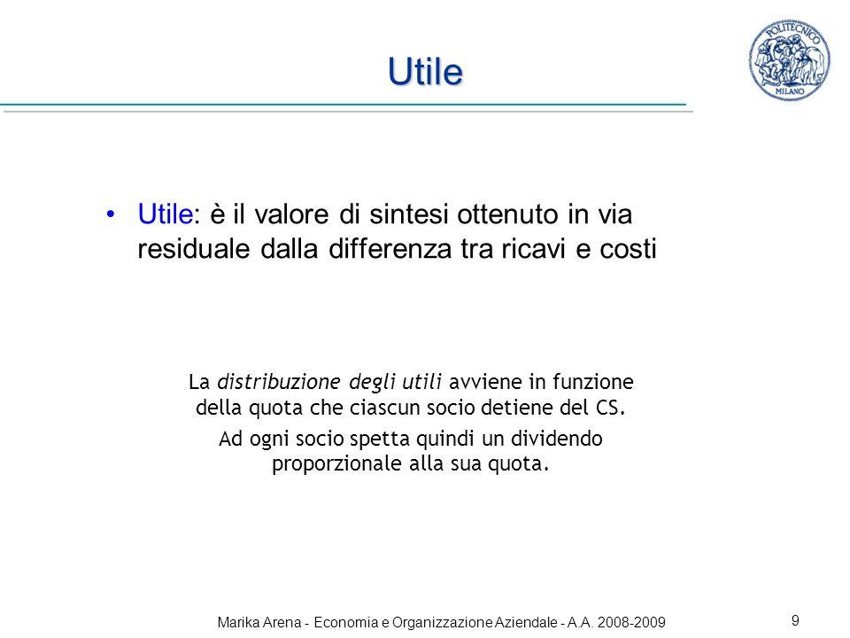 Utile Utile: è il valore di sintesi ottenuto in via residuale dalla differenza tra ricavi e costi.