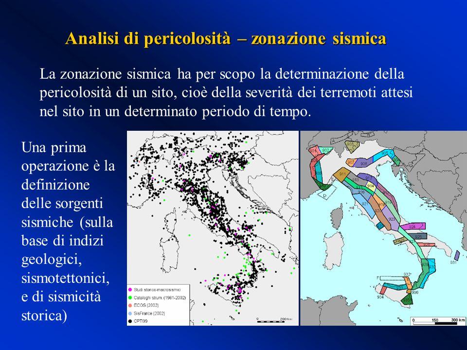 Analisi di pericolosità – zonazione sismica