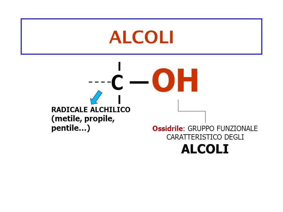 Ossidrile: GRUPPO FUNZIONALE CARATTERISTICO DEGLI ALCOLI
