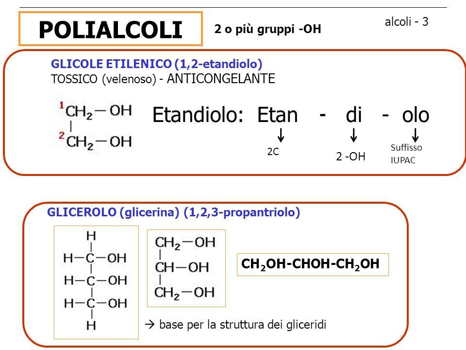 POLIALCOLI Etandiolo: Etan - di - olo 2 -OH CH2OH-CHOH-CH2OH
