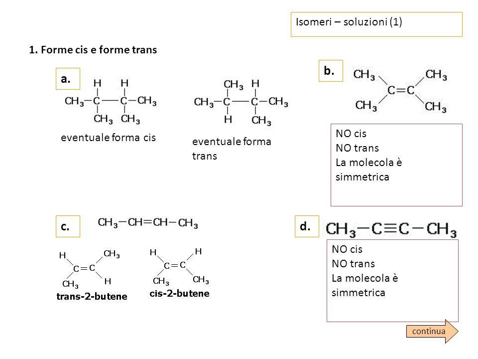 b. a. c. d. Isomeri – soluzioni (1) 1. Forme cis e forme trans NO cis