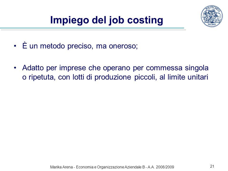 Impiego del job costing