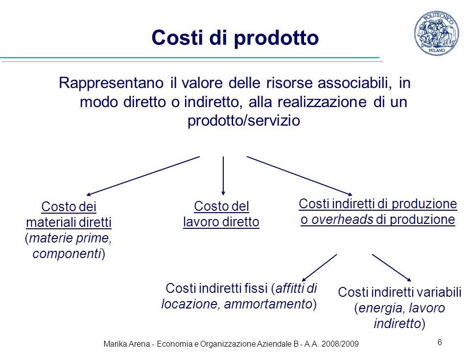 Costi di prodotto Rappresentano il valore delle risorse associabili, in modo diretto o indiretto, alla realizzazione di un prodotto/servizio.