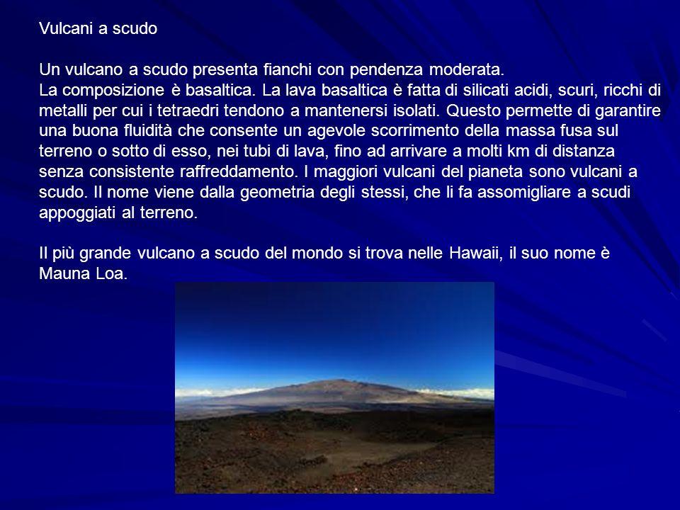 Vulcani a scudoUn vulcano a scudo presenta fianchi con pendenza moderata.