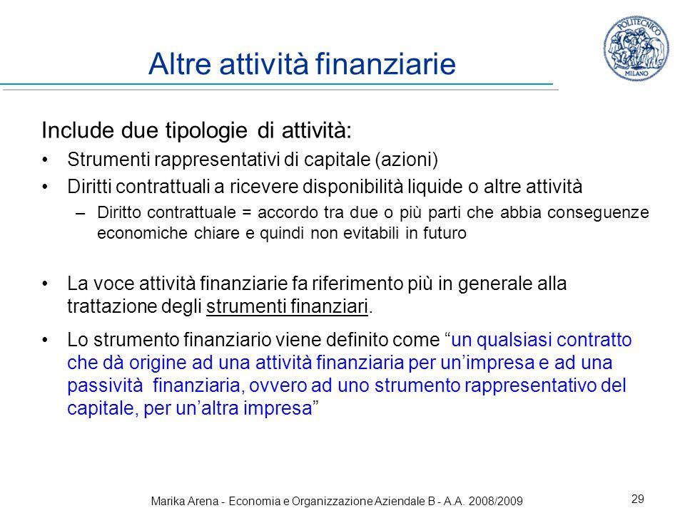 Altre attività finanziarie