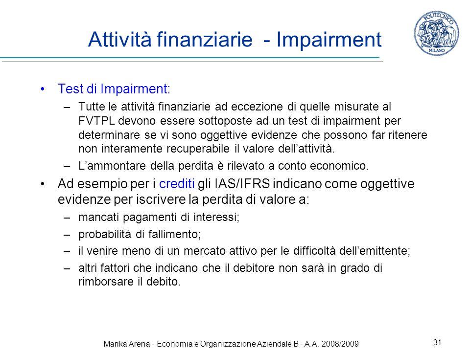 Attività finanziarie - Impairment