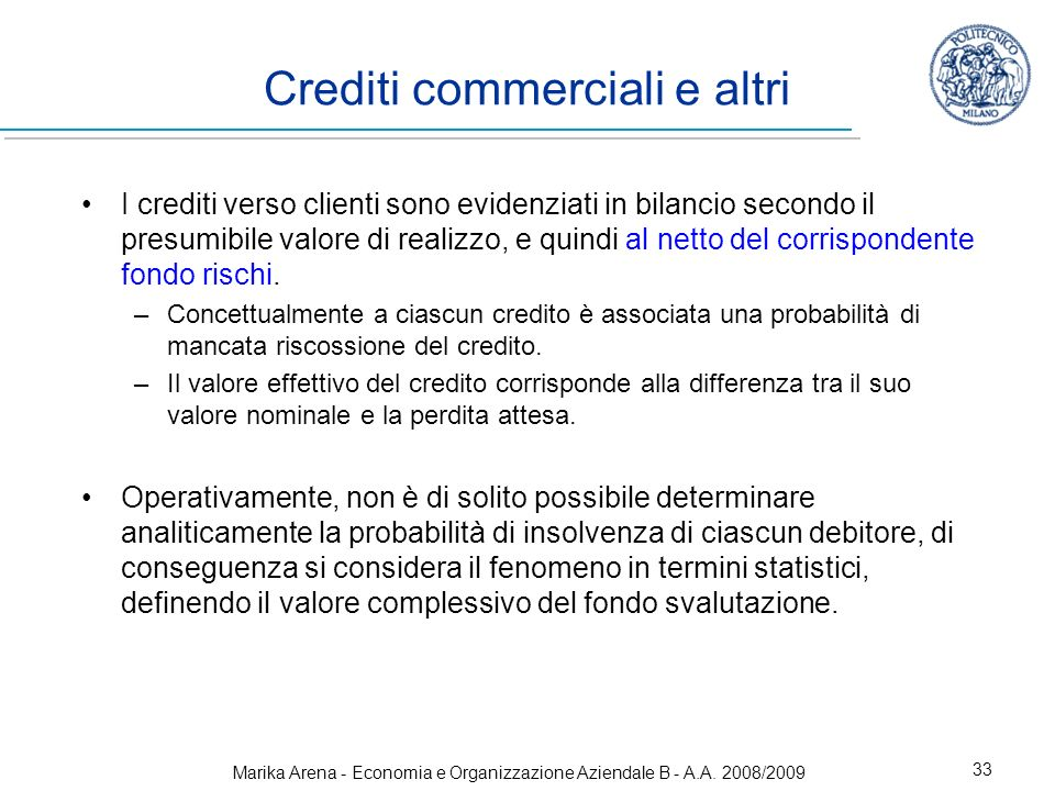 Crediti commerciali e altri