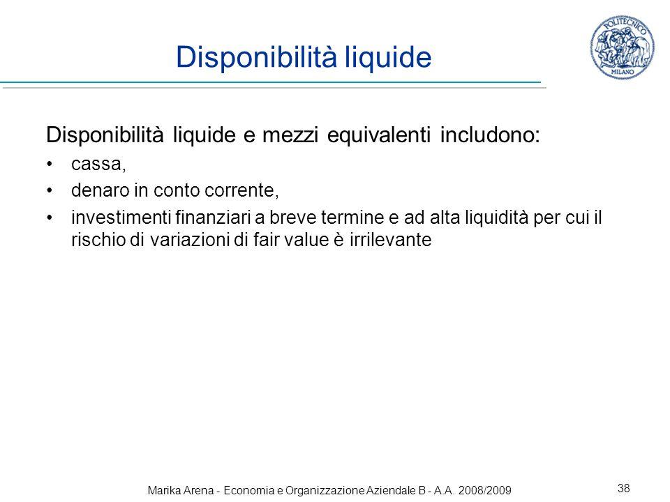 Disponibilità liquide