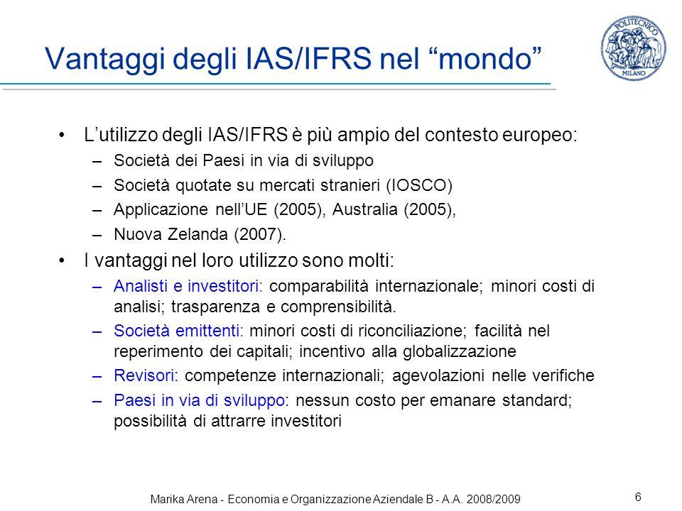 Vantaggi degli IAS/IFRS nel mondo