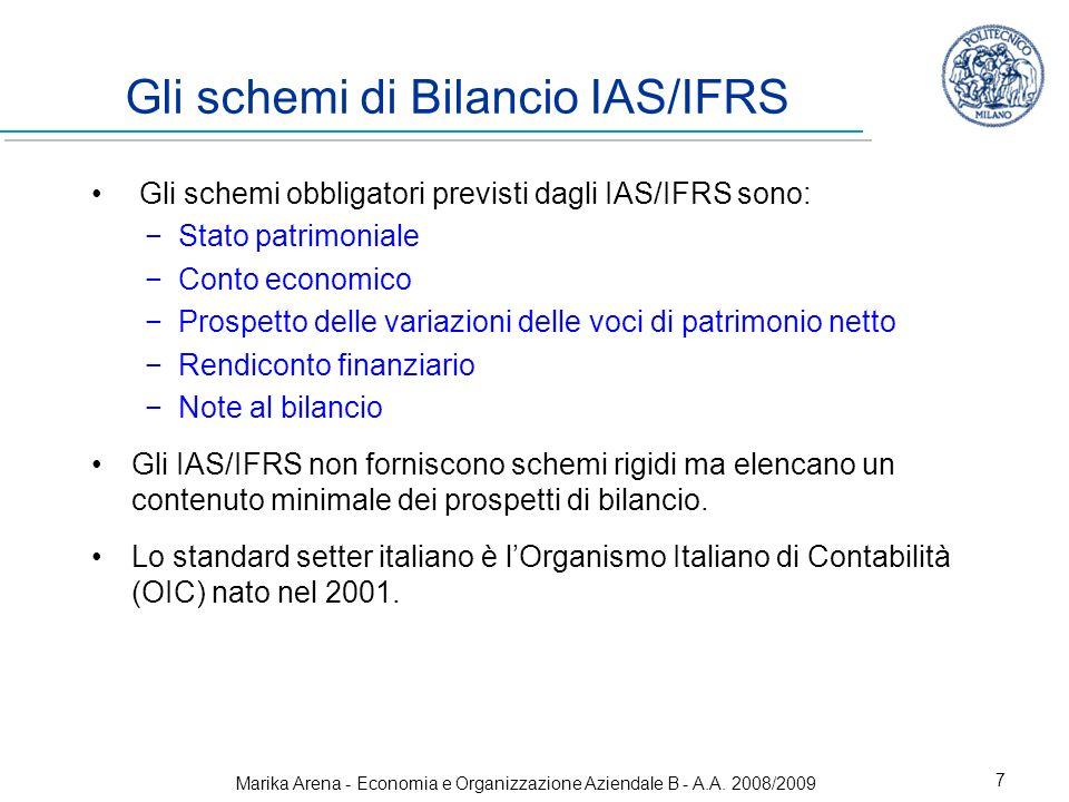 Gli schemi di Bilancio IAS/IFRS