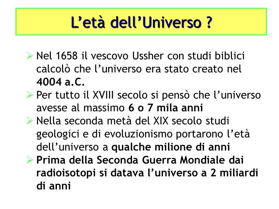L'età dell'Universo Nel 1658 il vescovo Ussher con studi biblici calcolò che l'universo era stato creato nel 4004 a.C.