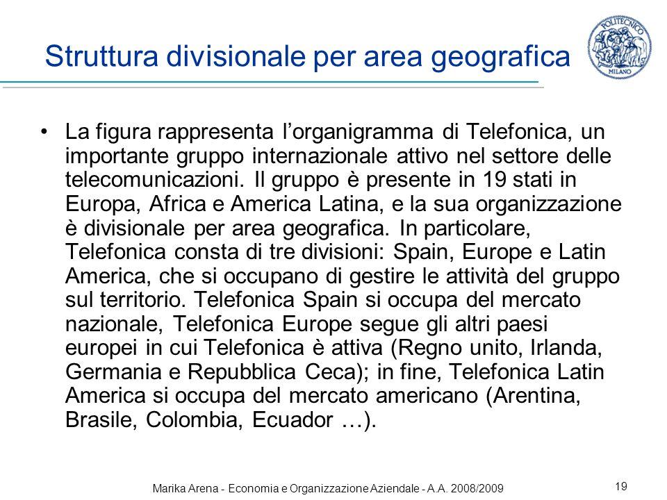 Struttura divisionale per area geografica