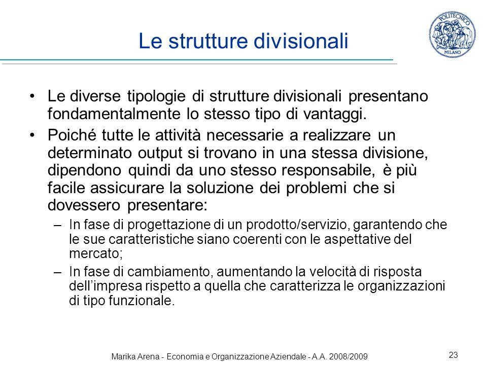 Le strutture divisionali