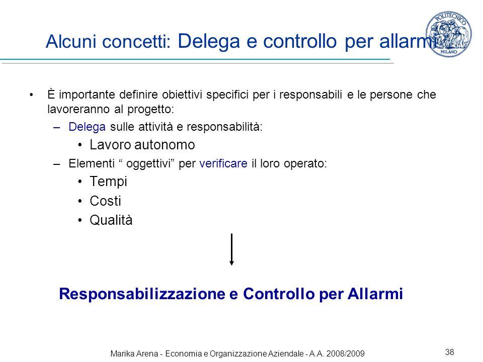 Alcuni concetti: Delega e controllo per allarmi