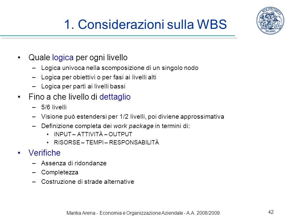 1. Considerazioni sulla WBS
