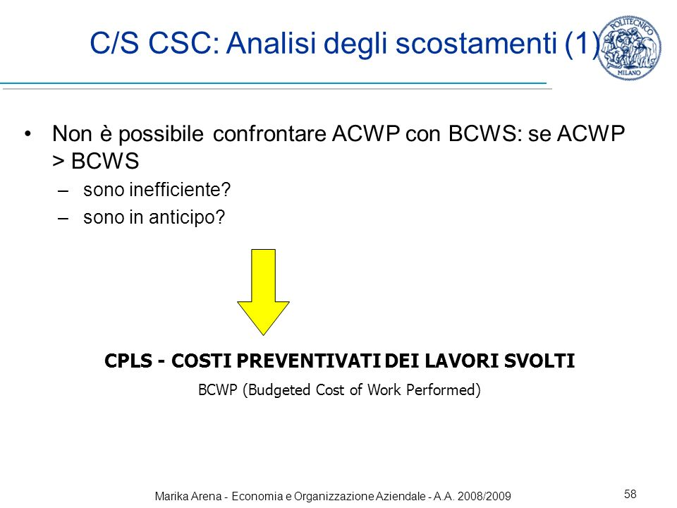 C/S CSC: Analisi degli scostamenti (1)