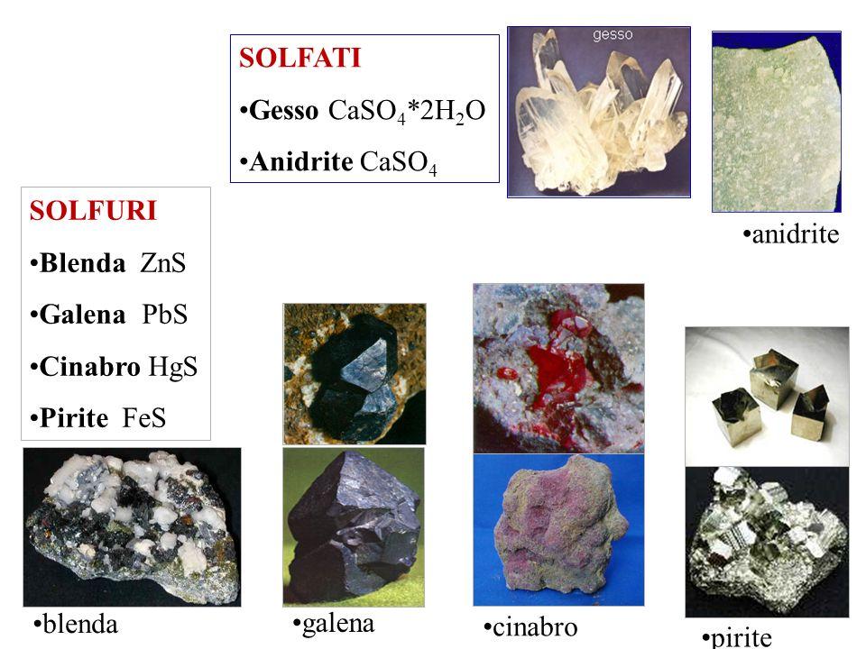 SOLFATI Gesso CaSO4*2H2O. Anidrite CaSO4. anidrite. SOLFURI. Blenda ZnS. Galena PbS. Cinabro HgS.