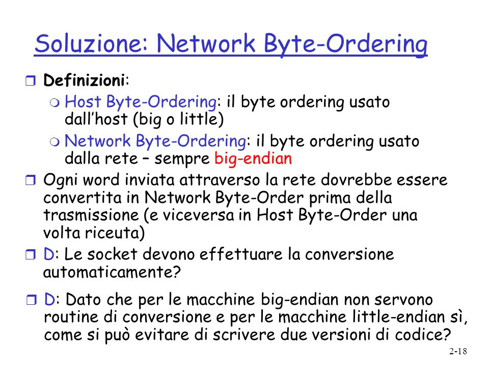 Soluzione: Network Byte-Ordering