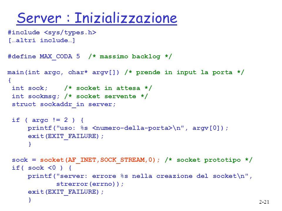 Server : Inizializzazione