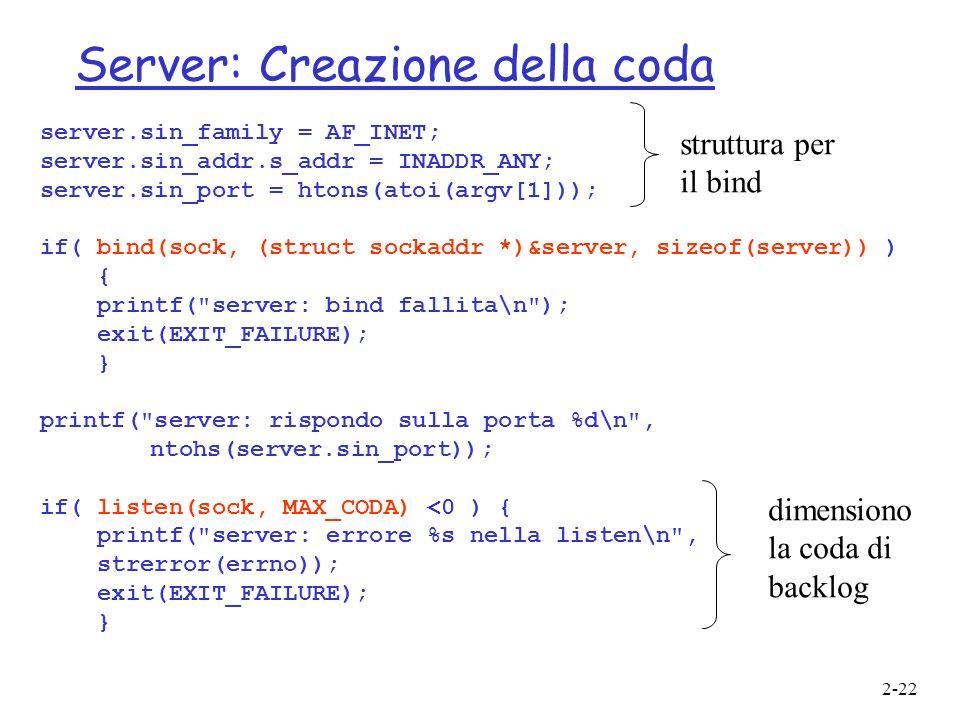 Server: Creazione della coda