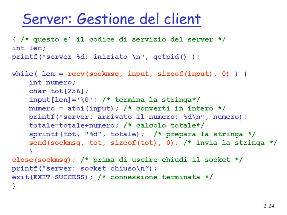 Server: Gestione del client