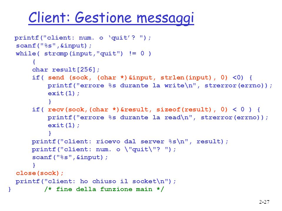 Client: Gestione messaggi