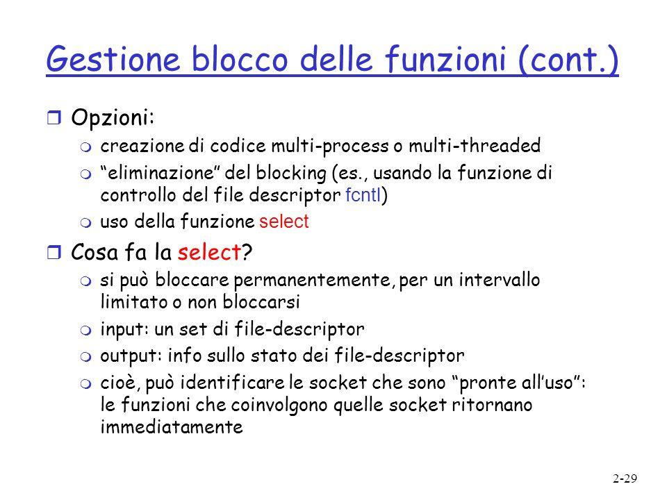 Gestione blocco delle funzioni (cont.)