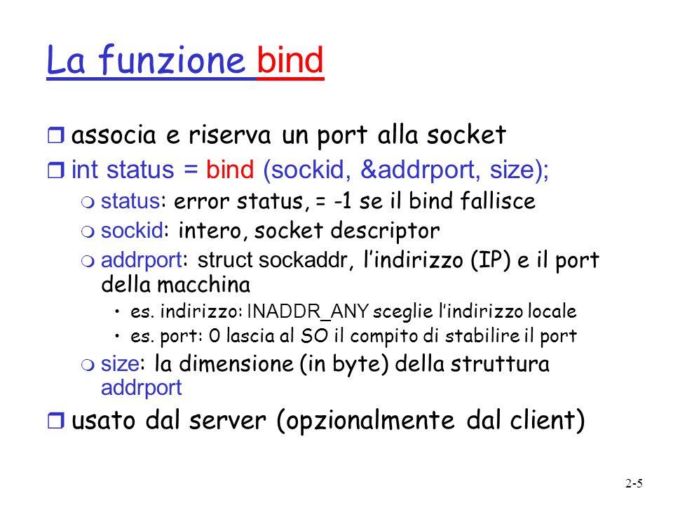La funzione bind associa e riserva un port alla socket
