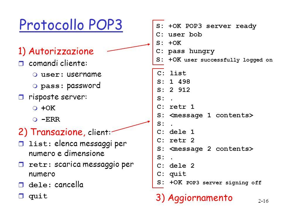 Protocollo POP3 1) Autorizzazione C: list 2) Transazione, client:
