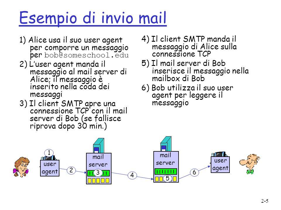 Esempio di invio mail 1) Alice usa il suo user agent per comporre un messaggio per bob@someschool.edu.
