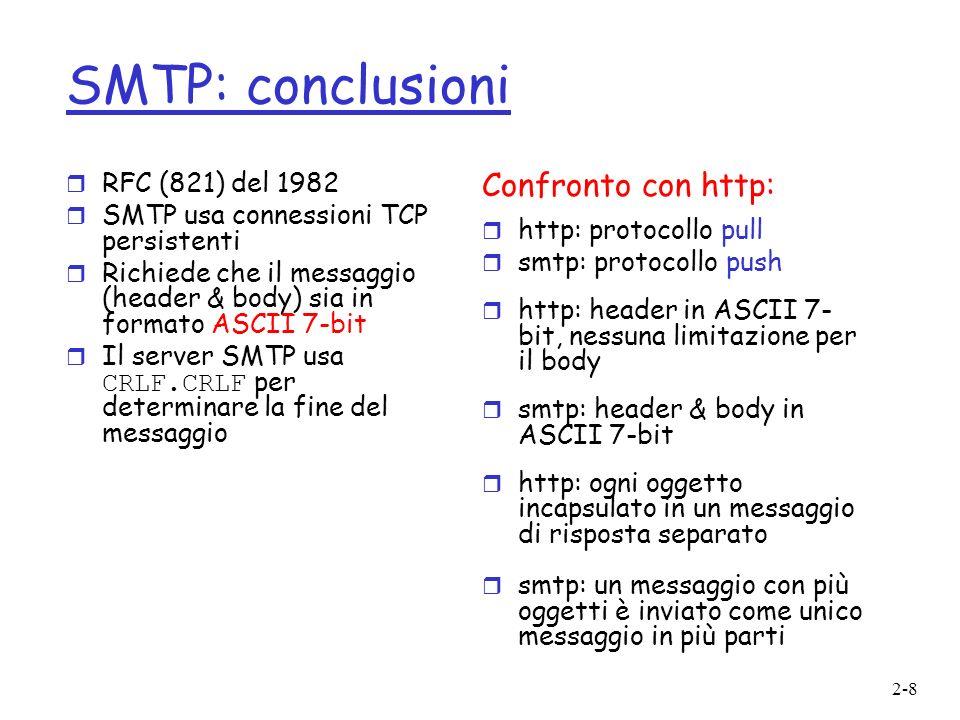 SMTP: conclusioni Confronto con http: RFC (821) del 1982