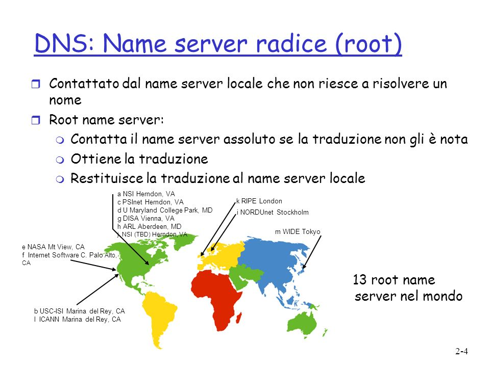 DNS: Name server radice (root)