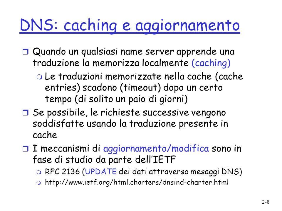 DNS: caching e aggiornamento