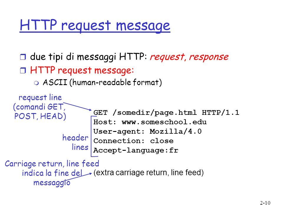 HTTP request message due tipi di messaggi HTTP: request, response