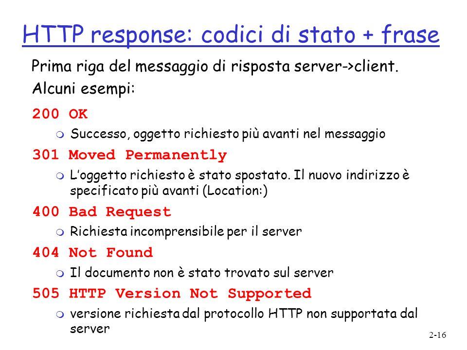 HTTP response: codici di stato + frase