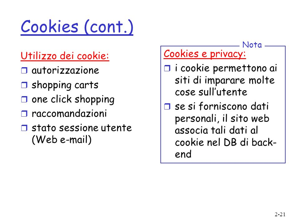 Cookies (cont.) Cookies e privacy: Utilizzo dei cookie: