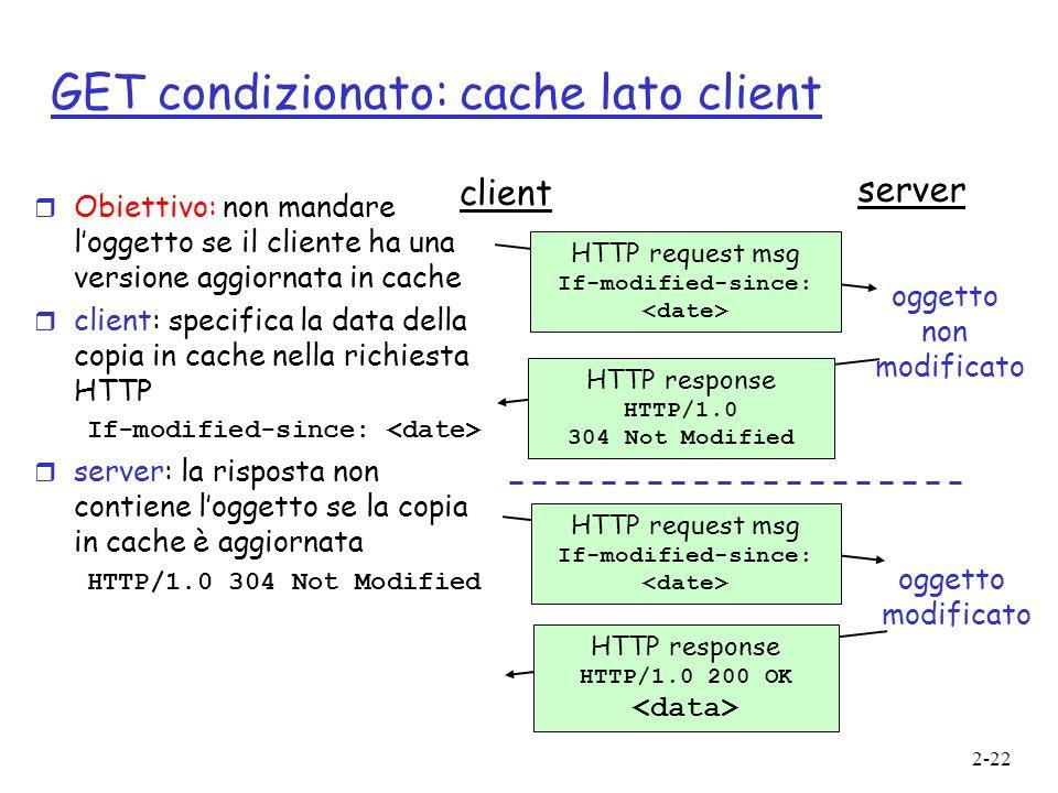 GET condizionato: cache lato client