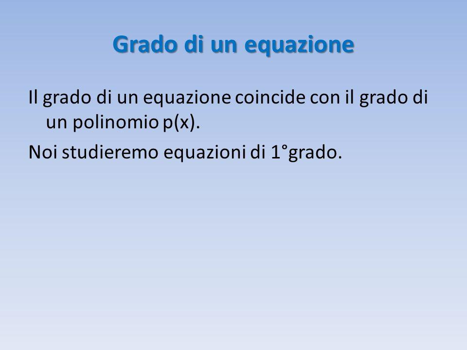 Grado di un equazione Il grado di un equazione coincide con il grado di un polinomio p(x).