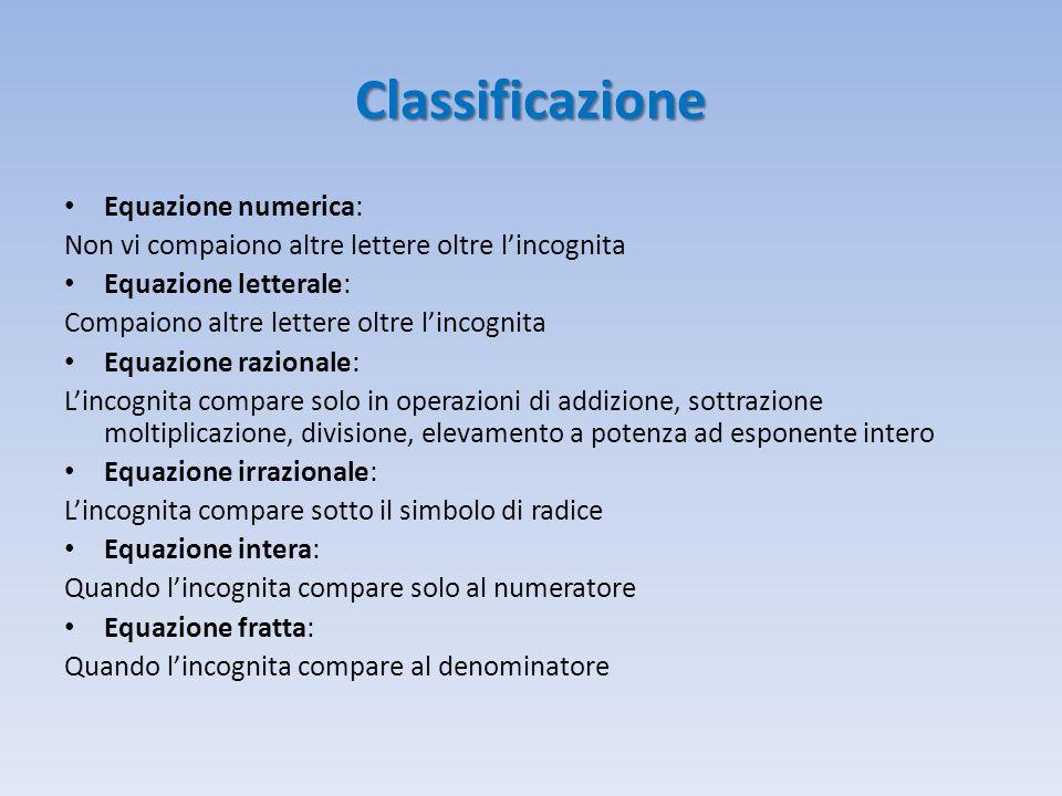 Classificazione Equazione numerica: